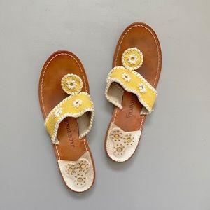 JACK ROGERS Yellow Fabric Print Sandals 9